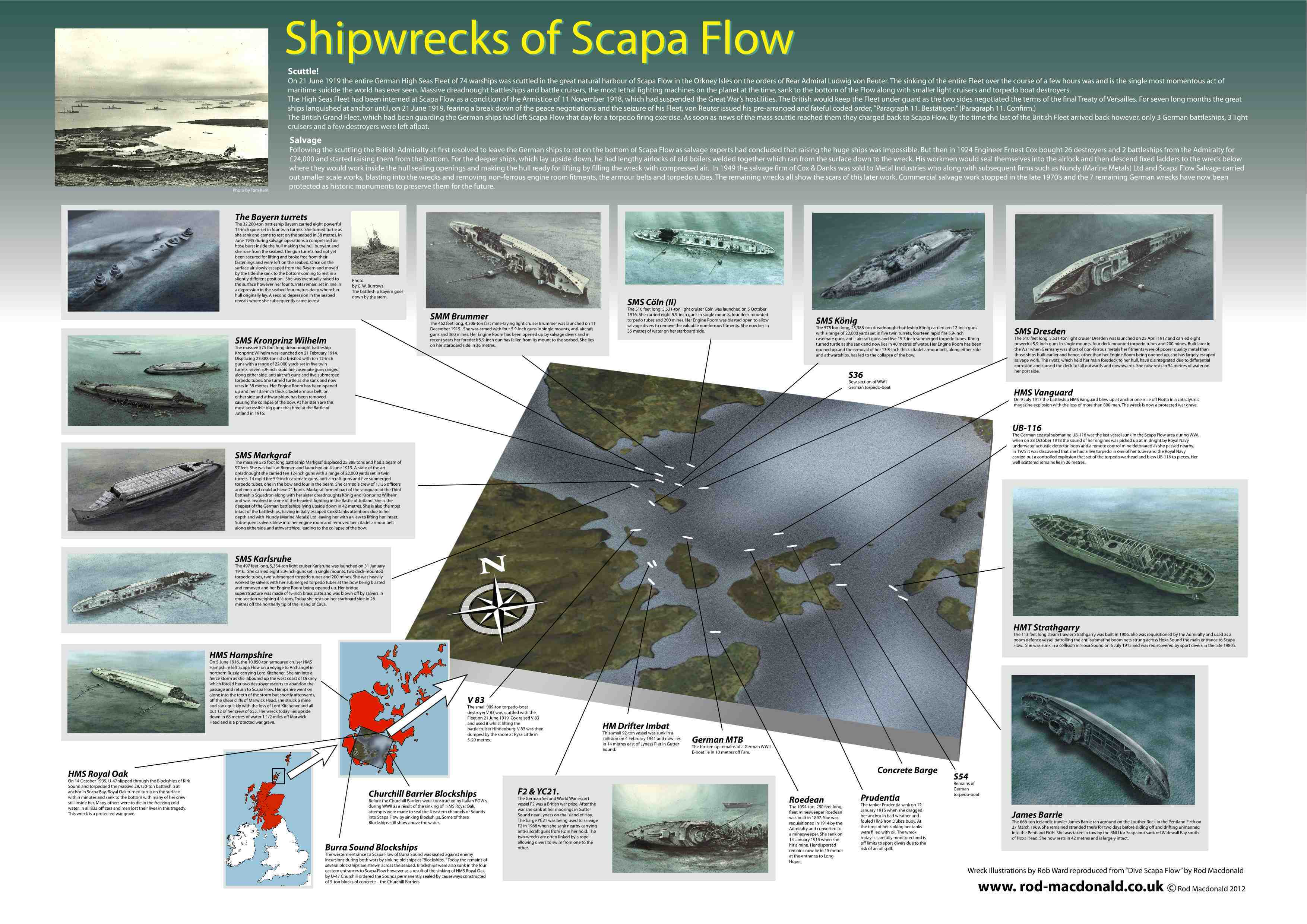 A1 Shipwrecks of Scapa Flow chart - £45 + P&P.