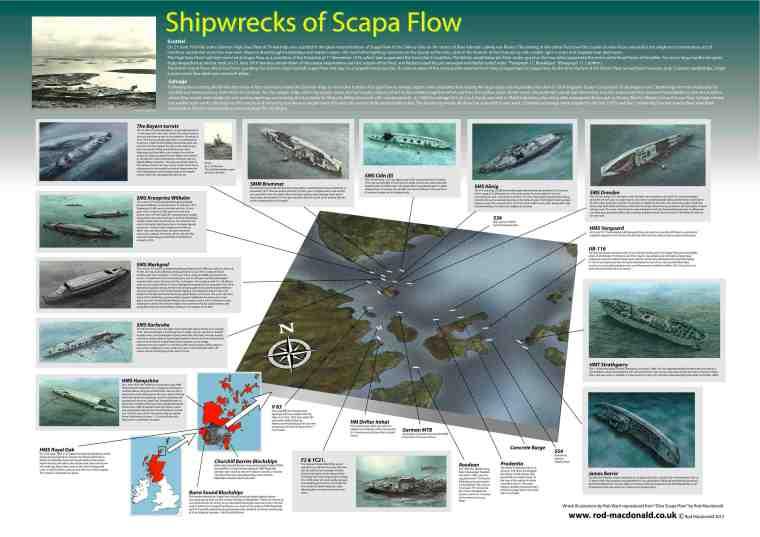 A1 Shipwrecks of Scapa Flow chart - £45 + P&P.